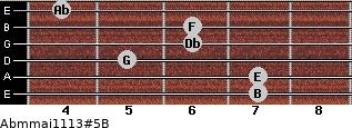 Abm(maj11/13)#5/B for guitar on frets 7, 7, 5, 6, 6, 4