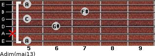 Adim(maj13) for guitar on frets 5, x, 6, 5, 7, 5