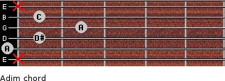 Adim for guitar on frets x, 0, 1, 2, 1, x