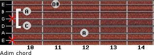 Adim for guitar on frets x, 12, 10, x, 10, 11