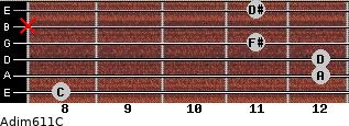 Adim6/11/C for guitar on frets 8, 12, 12, 11, x, 11