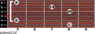 Adim6/11/C for guitar on frets 8, 5, x, 8, 7, 5