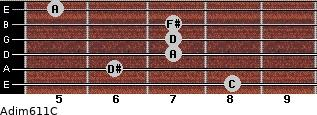 Adim6/11/C for guitar on frets 8, 6, 7, 7, 7, 5