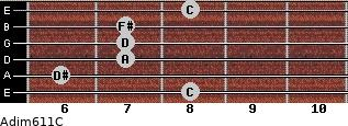 Adim6/11/C for guitar on frets 8, 6, 7, 7, 7, 8