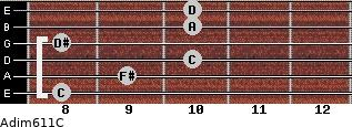 Adim6/11/C for guitar on frets 8, 9, 10, 8, 10, 10