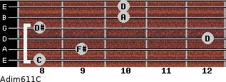 Adim6/11/C for guitar on frets 8, 9, 12, 8, 10, 10