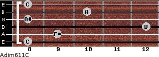 Adim6/11/C for guitar on frets 8, 9, 12, 8, 10, 8