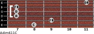 Adim6/11/C for guitar on frets 8, 9, 7, 7, 7, 11