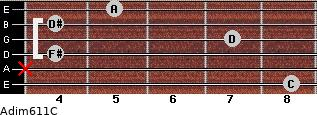 Adim6/11/C for guitar on frets 8, x, 4, 7, 4, 5