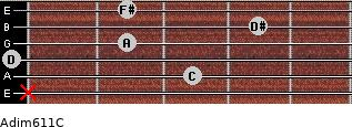 Adim6/11/C for guitar on frets x, 3, 0, 2, 4, 2