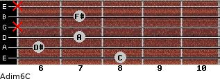 Adim6/C for guitar on frets 8, 6, 7, x, 7, x
