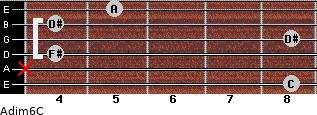 Adim6/C for guitar on frets 8, x, 4, 8, 4, 5
