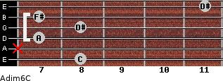 Adim6/C for guitar on frets 8, x, 7, 8, 7, 11