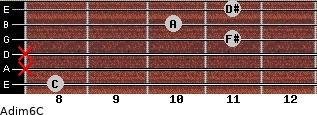Adim6/C for guitar on frets 8, x, x, 11, 10, 11