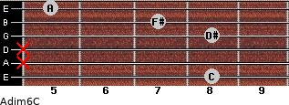 Adim6/C for guitar on frets 8, x, x, 8, 7, 5