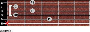 Adim6/C for guitar on frets x, 3, 1, 2, 1, 2