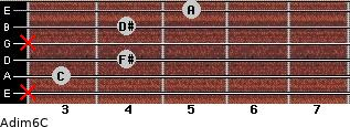 Adim6/C for guitar on frets x, 3, 4, x, 4, 5