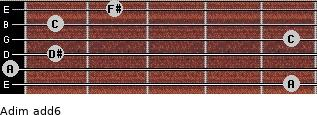 Adim(add6) for guitar on frets 5, 0, 1, 5, 1, 2