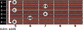 Adim(add6) for guitar on frets 5, 6, 7, 5, 7, 5