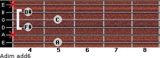 Adim(add6) for guitar on frets 5, x, 4, 5, 4, x