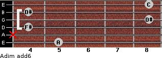 Adim(add6) for guitar on frets 5, x, 4, 8, 4, 8