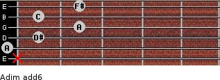 Adim(add6) for guitar on frets x, 0, 1, 2, 1, 2