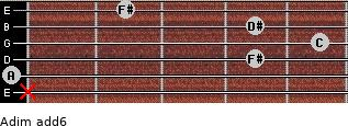 Adim(add6) for guitar on frets x, 0, 4, 5, 4, 2