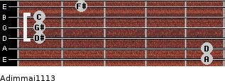 Adim(maj11/13) for guitar on frets 5, 5, 1, 1, 1, 2