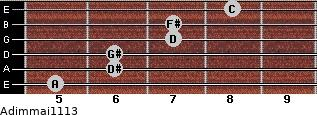 Adim(maj11/13) for guitar on frets 5, 6, 6, 7, 7, 8