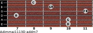 Adim(maj11/13)/D add(m7) for guitar on frets 10, 10, 7, 11, 9, 8