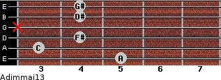 Adim(maj13) for guitar on frets 5, 3, 4, x, 4, 4