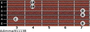 Adim(maj9/11/13)/B for guitar on frets 7, 3, 7, 7, 4, 4