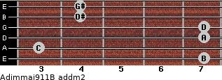 Adim(maj9/11)/B add(m2) guitar chord