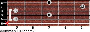 Adim(maj9/11)/D add(m2) for guitar on frets x, 5, 7, 5, 9, 7