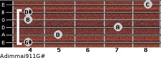 Adim(maj9/11)/G# for guitar on frets 4, 5, 7, 4, 4, 8