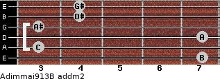 Adim(maj9/13)/B add(m2) guitar chord
