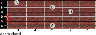 Adom for guitar on frets 5, x, x, 6, 5, 3
