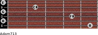Adom7/13 for guitar on frets 5, 0, 4, 0, 2, 0