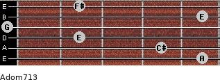 Adom7/13 for guitar on frets 5, 4, 2, 0, 5, 2