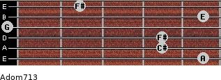 Adom7/13 for guitar on frets 5, 4, 4, 0, 5, 2