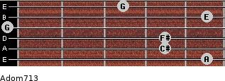 Adom7/13 for guitar on frets 5, 4, 4, 0, 5, 3