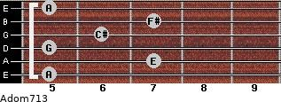 Adom7/13 for guitar on frets 5, 7, 5, 6, 7, 5