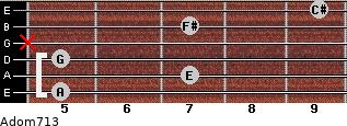 Adom7/13 for guitar on frets 5, 7, 5, x, 7, 9