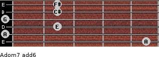 Adom7(add6) for guitar on frets 5, 0, 2, 0, 2, 2