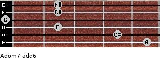 Adom7(add6) for guitar on frets 5, 4, 2, 0, 2, 2