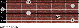 Adom7(add6) for guitar on frets 5, 4, 2, 0, 5, 2
