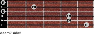 Adom7(add6) for guitar on frets 5, 4, 4, 0, 2, 0