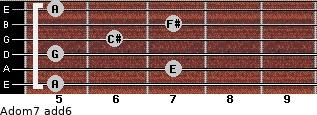 Adom7(add6) for guitar on frets 5, 7, 5, 6, 7, 5