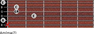 Am(maj7) for guitar on frets x, 0, 2, 1, 1, 0
