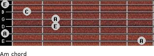 Am for guitar on frets 5, 0, 2, 2, 1, 0